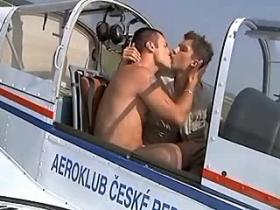 Two yummy boys sucking dicks in the cabin of plane